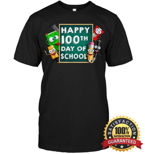 Happy 100Th Day Of School T-Shirt For Kids Boys And Girls T Shirt Unisex Short Sleeve Classic Tee /