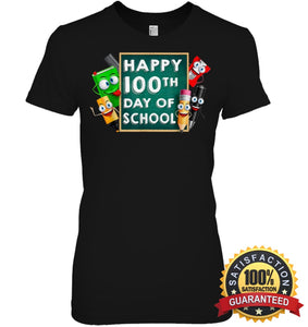 Happy 100Th Day Of School T-Shirt For Kids Boys And Girls T Shirt Womens Relaxed Fit Tee / Black S