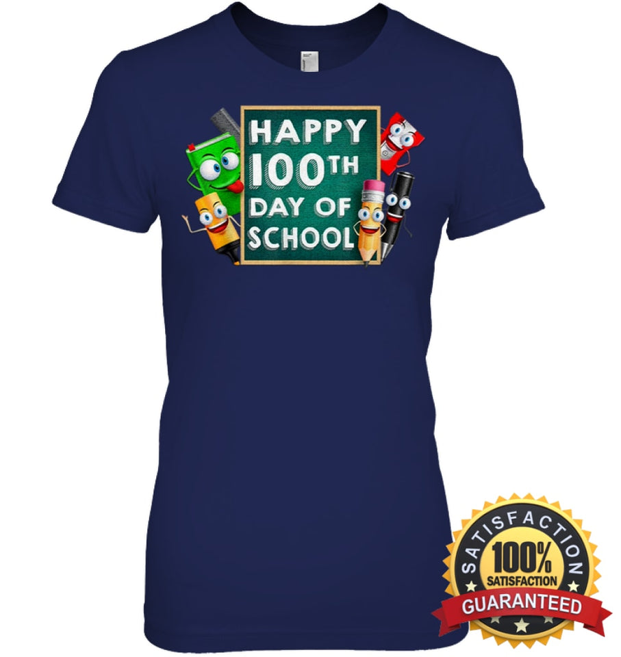 Happy 100Th Day Of School T-Shirt For Kids Boys And Girls T Shirt Womens Relaxed Fit Tee / Navy S