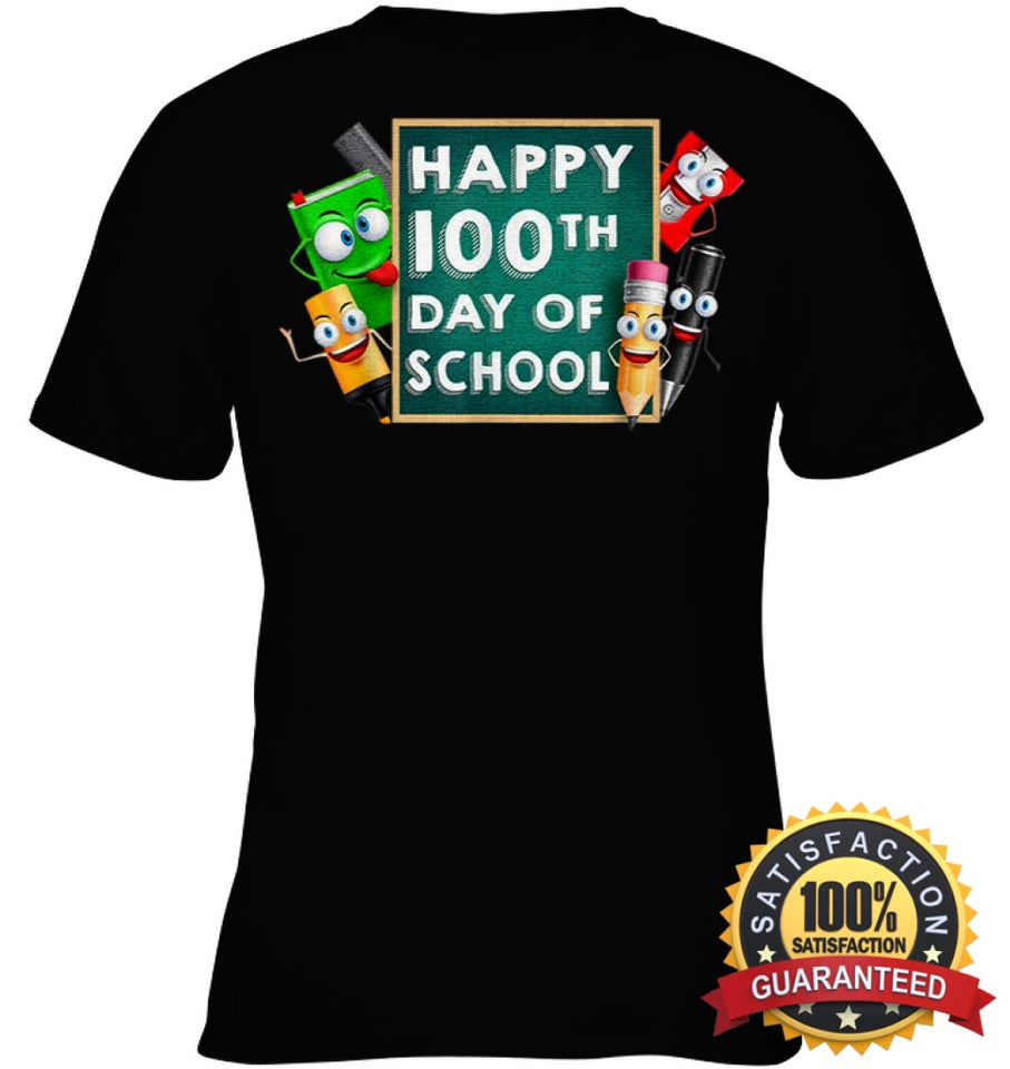 Happy 100Th Day Of School T-Shirt For Kids Boys And Girls T Shirt Youth Classic Tee / Black Xs