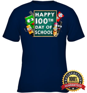 Happy 100Th Day Of School T-Shirt For Kids Boys And Girls T Shirt Youth Classic Tee / Navy Xs