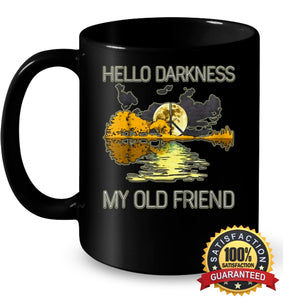 Hello Darkness My Old Friend Guitar Hippie T-Shirt 11Oz Ceramic Mug / Black One-Size Apparel