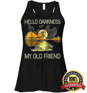 Hello Darkness My Old Friend Guitar Hippie T-Shirt Bella Womens Flowy Tank / Black S Apparel
