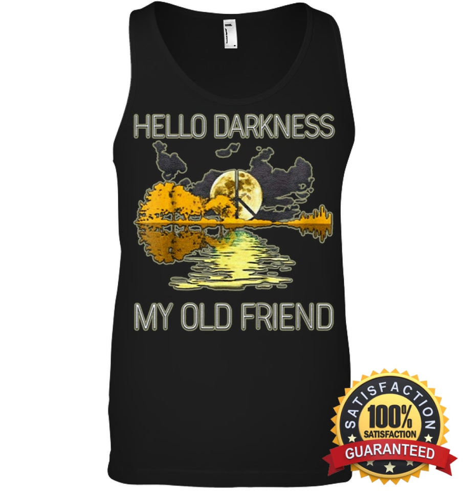 Hello Darkness My Old Friend Guitar Hippie T-Shirt Canvas Unisex Ringspun Tank / Black Xs Apparel