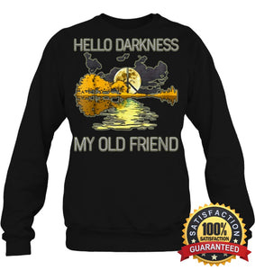 Hello Darkness My Old Friend Guitar Hippie T-Shirt Unisex Fleece Pullover Sweatshirt / Black S