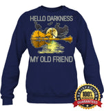 Hello Darkness My Old Friend Guitar Hippie T-Shirt Unisex Fleece Pullover Sweatshirt / Navy S