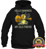 Hello Darkness My Old Friend Guitar Hippie T-Shirt Unisex Heavyweight Pullover Hoodie / Black S