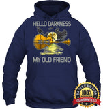 Hello Darkness My Old Friend Guitar Hippie T-Shirt Unisex Heavyweight Pullover Hoodie / Navy S
