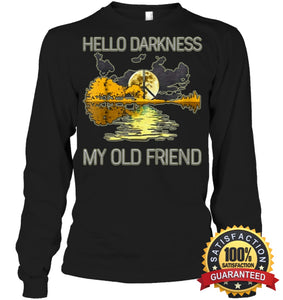 Hello Darkness My Old Friend Guitar Hippie T-Shirt Unisex Long Sleeve Classic Tee / Black S Apparel