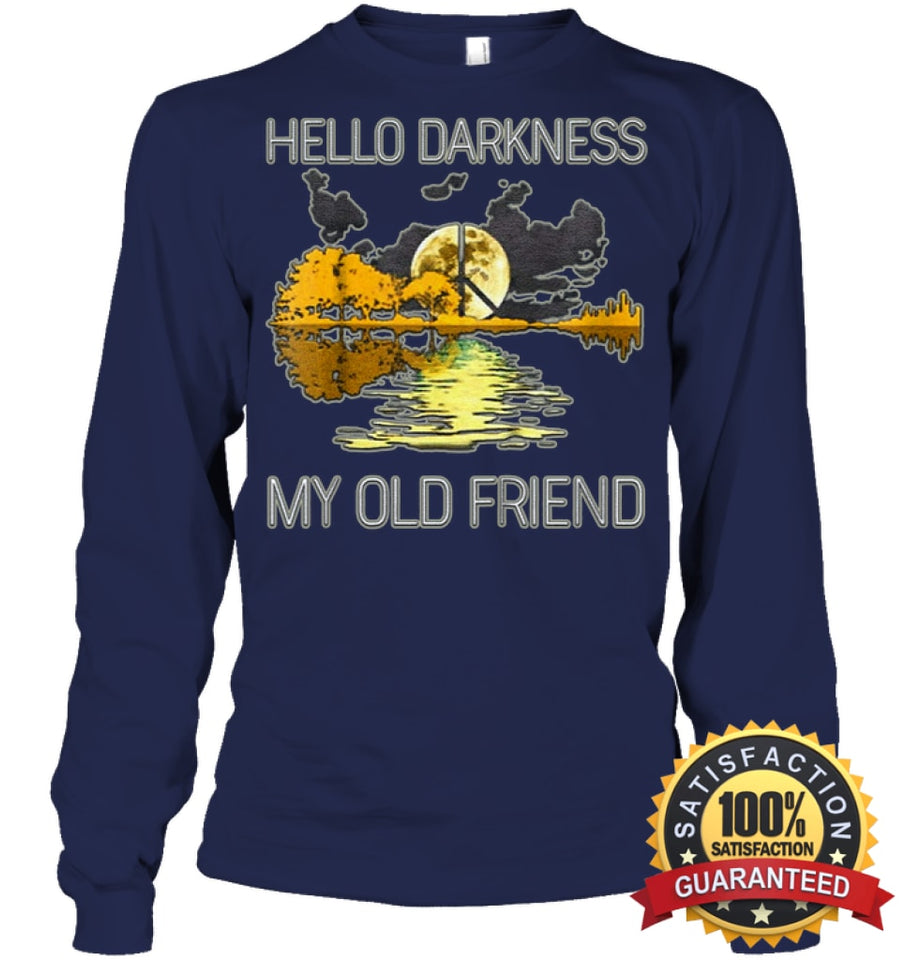 Hello Darkness My Old Friend Guitar Hippie T-Shirt Unisex Long Sleeve Classic Tee / Navy S Apparel
