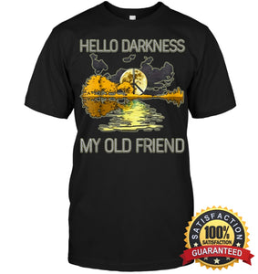 Hello Darkness My Old Friend Guitar Hippie T-Shirt Unisex Short Sleeve Classic Tee / Black S Apparel