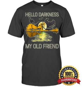 Hello Darkness My Old Friend Guitar Hippie T-Shirt Unisex Short Sleeve Classic Tee / Charcoal