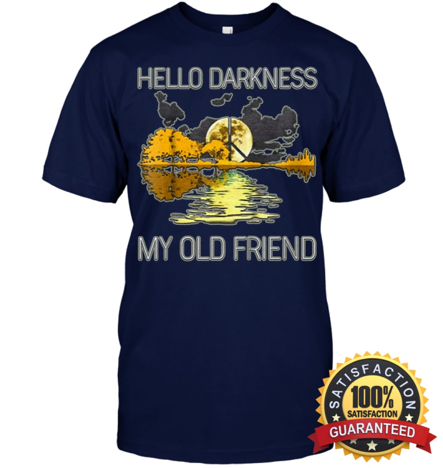 Hello Darkness My Old Friend Guitar Hippie T-Shirt Unisex Short Sleeve Classic Tee / Navy S Apparel