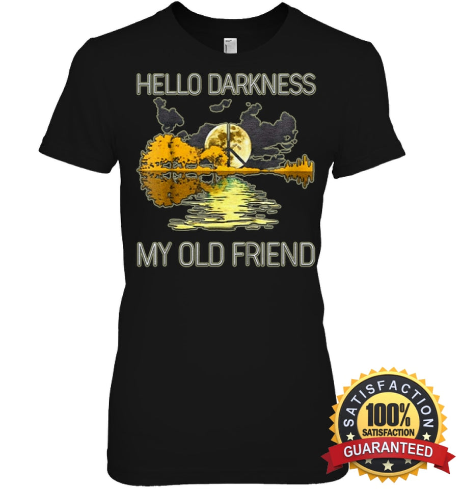 Hello Darkness My Old Friend Guitar Hippie T-Shirt Womens Relaxed Fit Tee / Black S Apparel