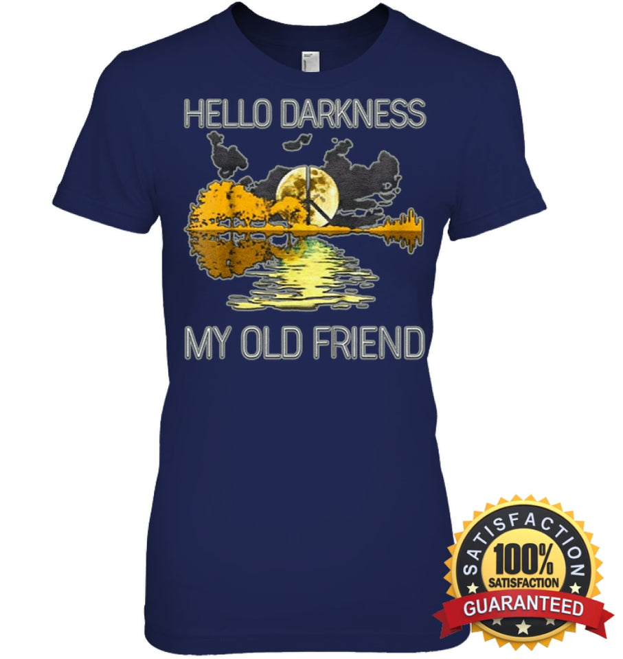 Hello Darkness My Old Friend Guitar Hippie T-Shirt Womens Relaxed Fit Tee / Navy S Apparel
