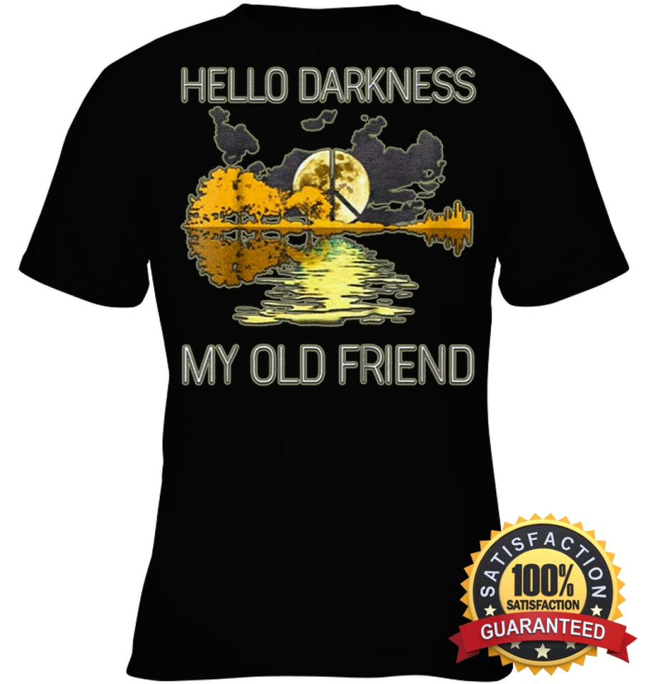 Hello Darkness My Old Friend Guitar Hippie T-Shirt Youth Classic Tee / Black Xs Apparel