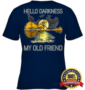 Hello Darkness My Old Friend Guitar Hippie T-Shirt Youth Classic Tee / Navy Xs Apparel