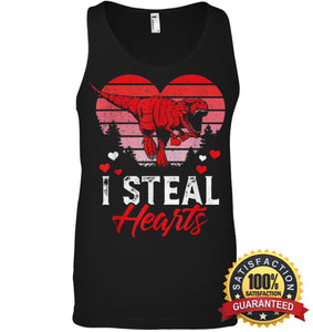 I Steal Hearts Tshirt Valentines Day Dinosaur T Rex Boys Kid Shirt Canvas Unisex Ringspun Tank /