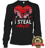 I Steal Hearts Tshirt Valentines Day Dinosaur T Rex Boys Kid Shirt Unisex Long Sleeve Classic Tee /