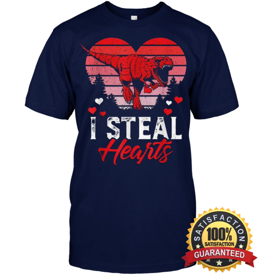 I Steal Hearts Tshirt Valentines Day Dinosaur T Rex Boys Kid Shirt Unisex Short Sleeve Classic Tee /