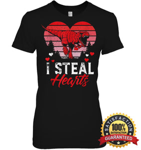 I Steal Hearts Tshirt Valentines Day Dinosaur T Rex Boys Kid Shirt Womens Relaxed Fit Tee / Black S