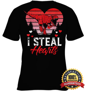 I Steal Hearts Tshirt Valentines Day Dinosaur T Rex Boys Kid Shirt Youth Classic Tee / Black Xs