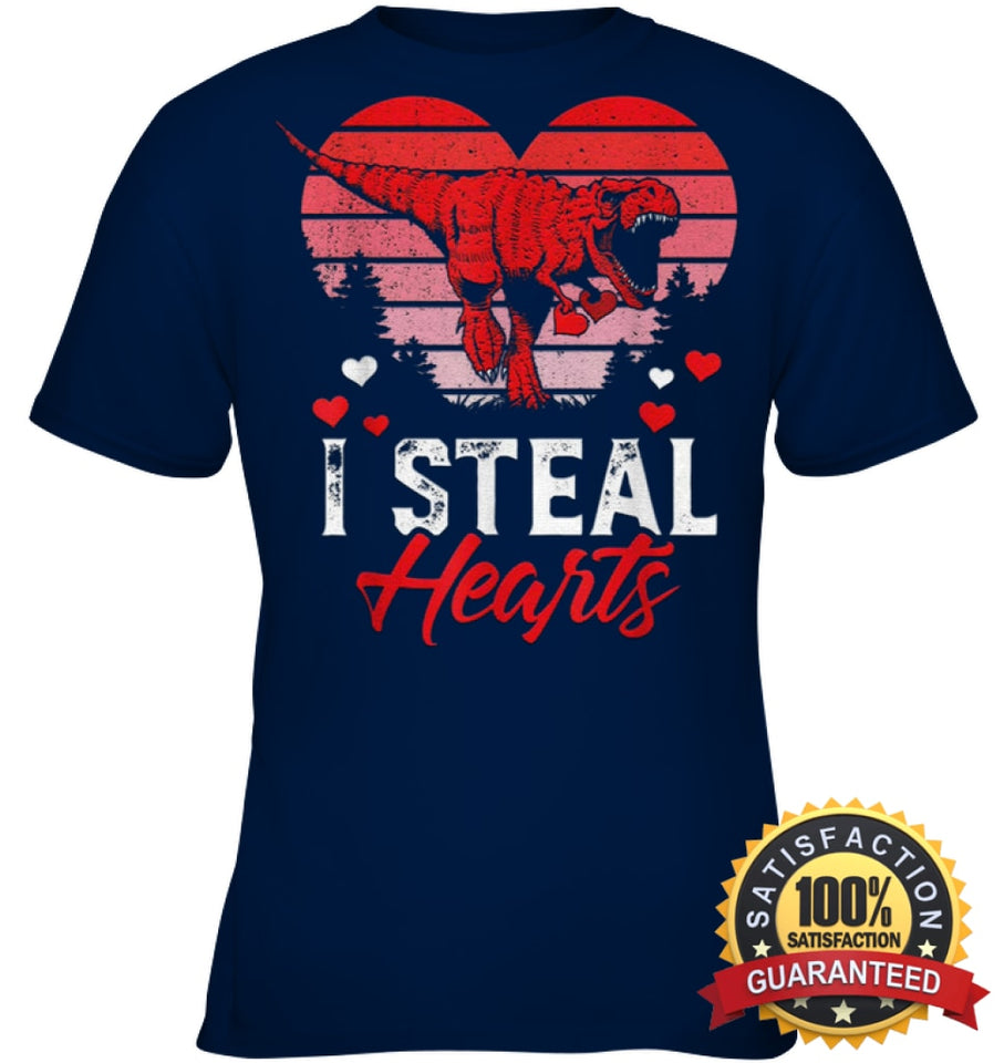 I Steal Hearts Tshirt Valentines Day Dinosaur T Rex Boys Kid Shirt Youth Classic Tee / Navy Xs