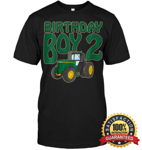 Kids 2Nd Birthday Green Farm Tractor Shirt