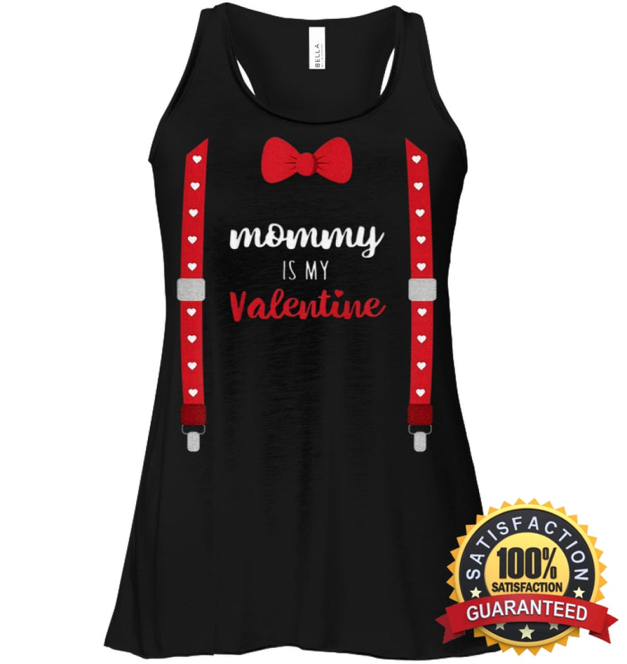 Mommy Is My Valentine T Shirt Heart Mom Suspenders Bow Tie Shirt Bella Womens Flowy Tank / Black S