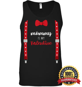 Mommy Is My Valentine T Shirt Heart Mom Suspenders Bow Tie Shirt Canvas Unisex Ringspun Tank / Black