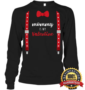 Mommy Is My Valentine T Shirt Heart Mom Suspenders Bow Tie Shirt Unisex Long Sleeve Classic Tee /