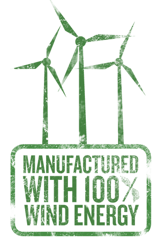 Manufactured with 100 percent wind energy