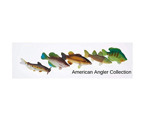 American Angler Collection Toy Fish Set With Collector Case Largemouth Bass Crappie Bluegill Catfish Striped Bass Miniature Figurine Fish by Toy Fish Factory