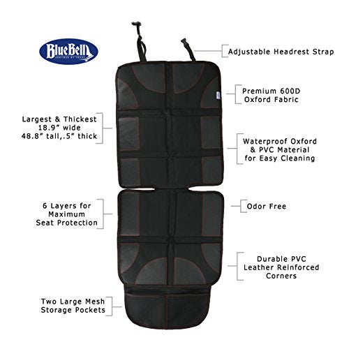 9 Layer Thick Padding Extra Large Super Comfortable Adjustable Reinforced Edges and 2 Large Storage Pocket PVC Leather Car Seat Protector with Thick Padding 600D D Fabric Waterproof