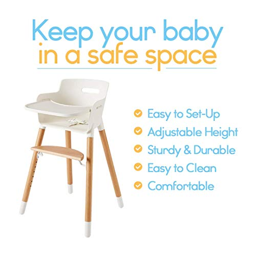 cee563ebb151 Wooden High Chair for Babies and Toddlers - with Harness, Removable Tray,  and Adjustable Legs