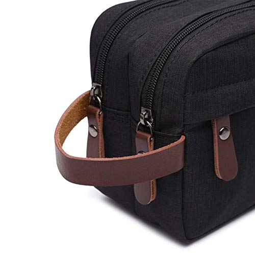 a15d8a63ad Tumecos Toiletry Bag Dopp Kit Leather Waxed Canvas Travel Toiletry  Organizer Bag (Black2)