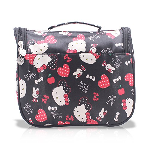 f79e84d7dc Finex Black Hello Kitty Toiletry Shower Bag with Hanging Hook Cosmetic Make  up Organizer Bag for .