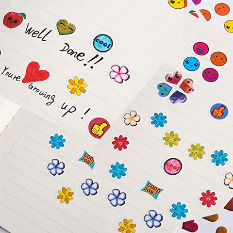 Over 70 Unique Designs Including Heart face Incentive Stickers for Teachers,12 Pack,120 Sheets in Total 5880 Kids Reward Stickers Star owl Christmas Stickers