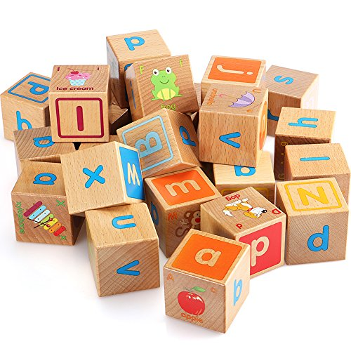 Fly Ac 26 Pcs Wood Alphabet Blocks Stacking Abc Letter Colors Wooden Blocks Montessori Educational Toys For Kids Gifts