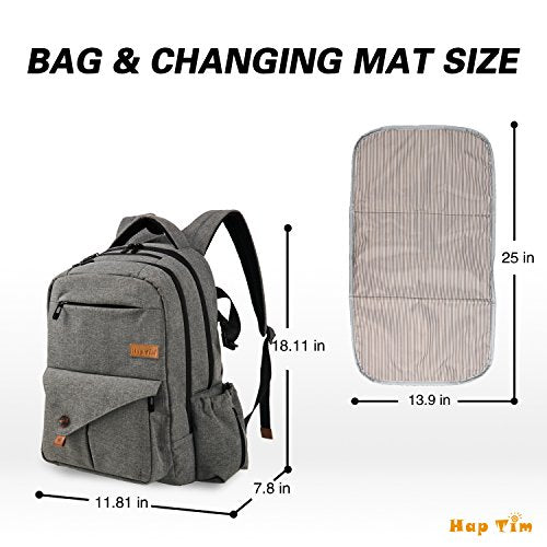 c5916e7617a9 HapTim Multi-function Large Baby Diaper Bag Backpack W Stroller Straps-Insulated  Pockets-Changing.