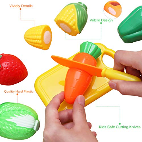 22 Pcs Food Sliceable Fruit Vegetable Cutting Kids Pretend Play Educational Kitchen Cooking House Toy Safe Learning Resources Automobiles & Motorcycles