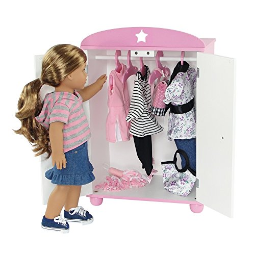 Dolls - 18 Inch Doll Furniture | Doll Closet Armoire with ...