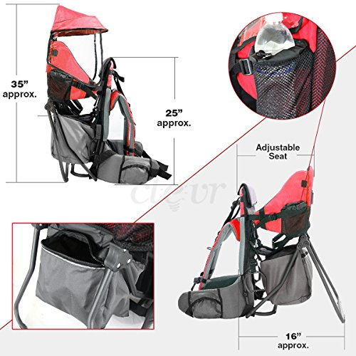 b81e0642205 Clevr Cross Country Baby Backpack Hiking Carrier with Stand and Sun Shade  Visor Child Kid toddler.
