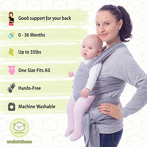 0fe61695deb Baby Wrap Carrier by KeaBabies - All-in-1 Stretchy Baby Wraps - Baby Sling  - Infant Carrier - Bab.