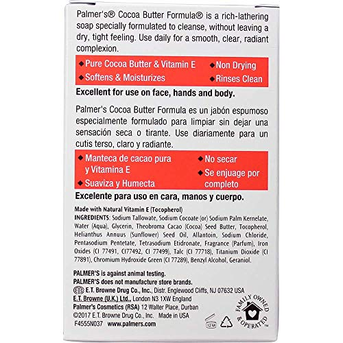 c4b85b28233763 Palmers Cocoa Butter Formula with Vitamin E, Daily Skin Therapy Formula  Cream Soap, 3.5 oz. (Pac.