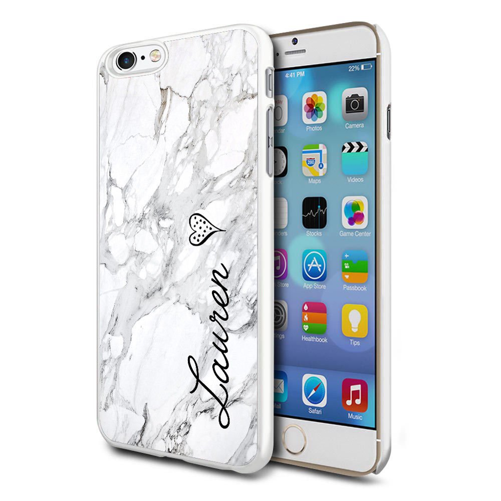 buy popular 9fed5 a953a Personalised Marble Hard Phone Case Cover Initial Text Name For Apple  iPhone 6/6s