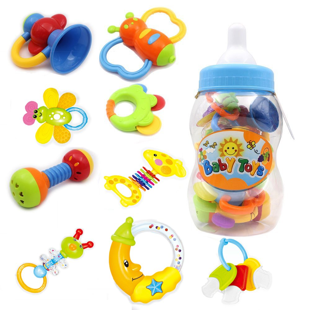 Toys For Infants >> Style Carry Rattle Teether Set Baby Toys Infants Baby Teether Rattle Toy Gift Sets Bottle 9