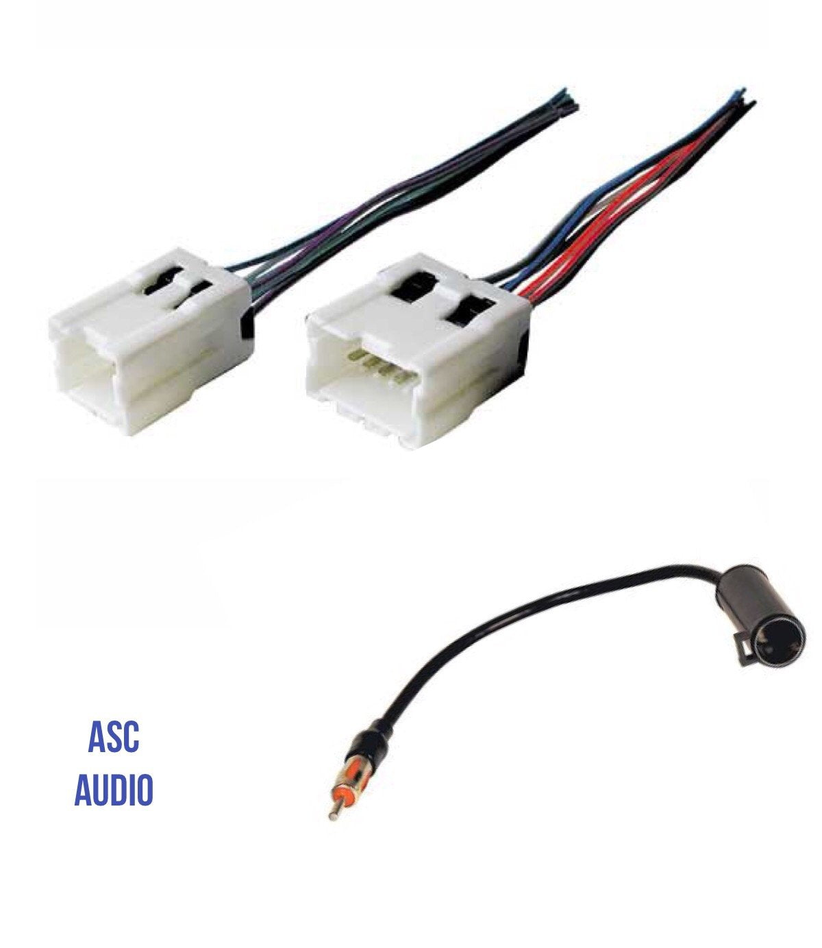 asc audio car stereo radio wire harness and antenna adapter to aftermarket  radio for some infinit