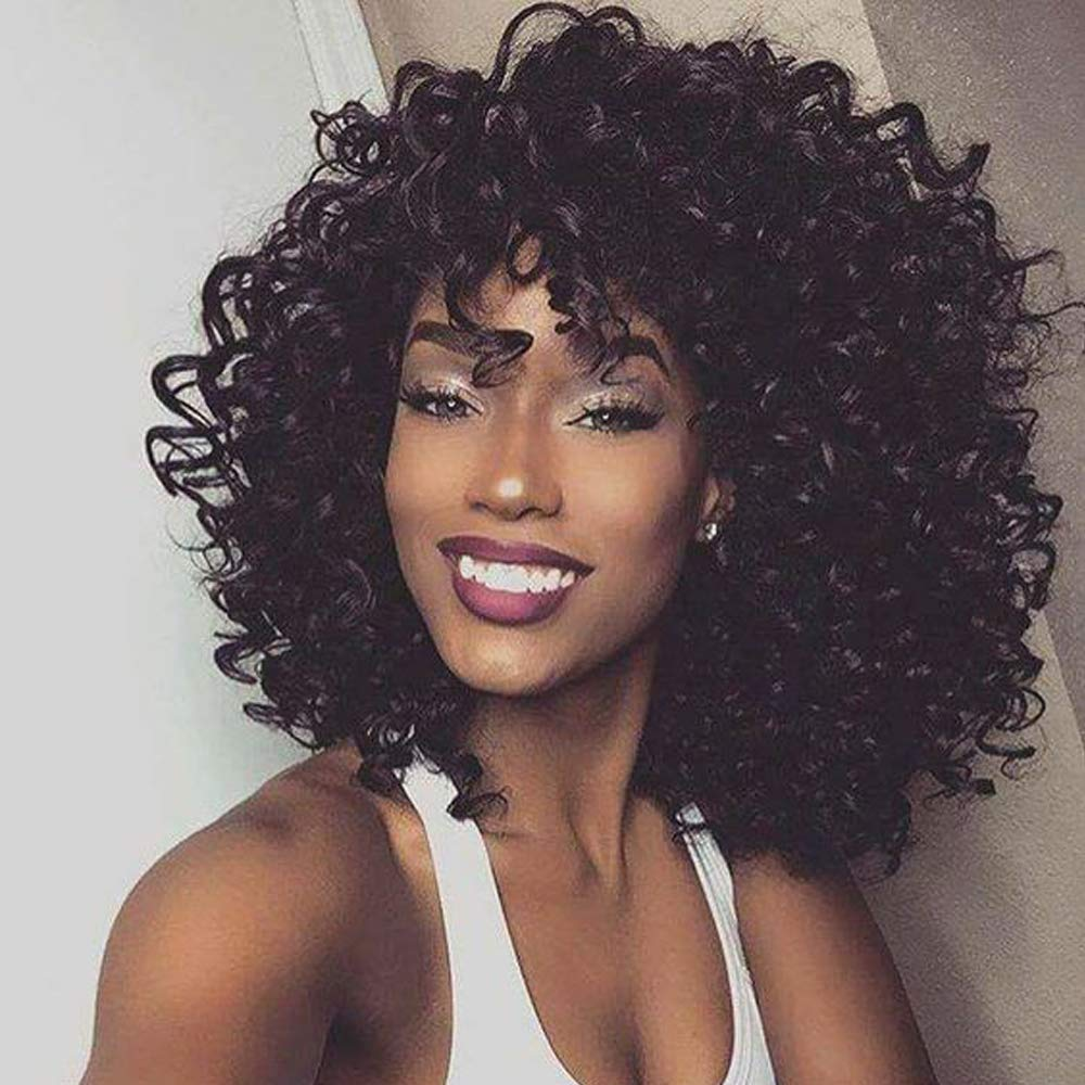 14 short black kinky curly wig jet black synthetic afro curly hair wigs for  black woman