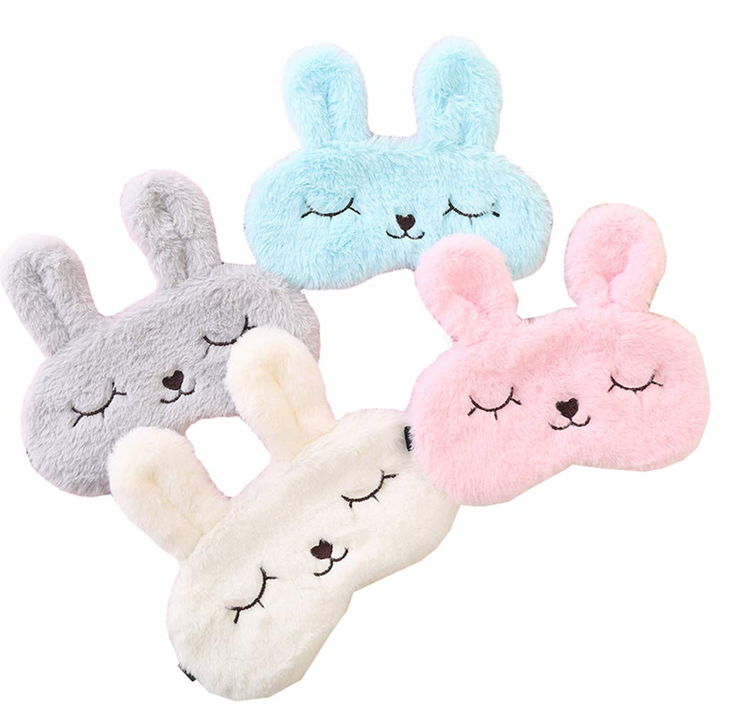 bf4b857a9 4 Pack Cute Animal Rabbit Sleeping Eye Mask Soft Plush Blindfold Sleep Masks  Eye Cover for Kids G..